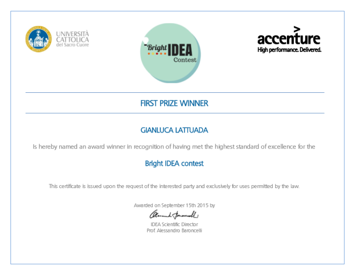 bright idea certificate